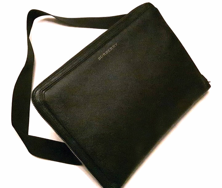 Burberry London Hyson Black Leather Document Messenger Bag  4722e54ca522f