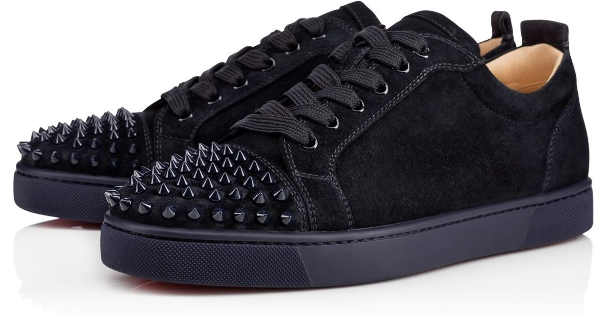 2ffdd4b8d75f Christian Louboutin Louis Junior Spikes Flat Veau Velours Black ...