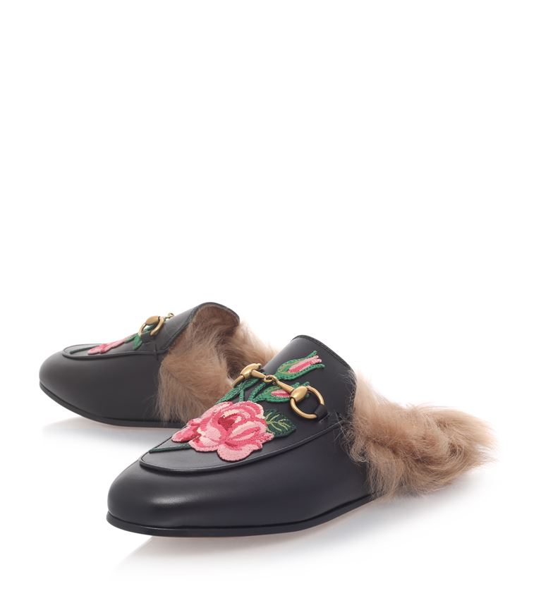 19a4340272a Gucci Princetown Fur Lined Leather Slippers