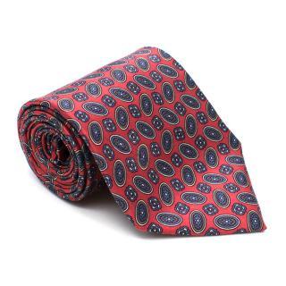 Yves Saint Laurent Circles Red Pattern Silk Tie
