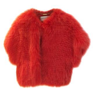 EMILIO PUCCI candy red Fox Fur bolero UK 10