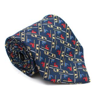 Brooks Brothers Navy Golf Clubs Pattern Silk Tie