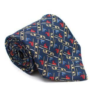 Brooks Brothers Navy Golf Clubs Pattern Silk Tie
