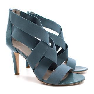 Sergio Rossi Blue Elastic Strap Caged Sandals