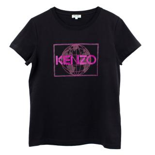 Kenzo Black with Purple Print Top