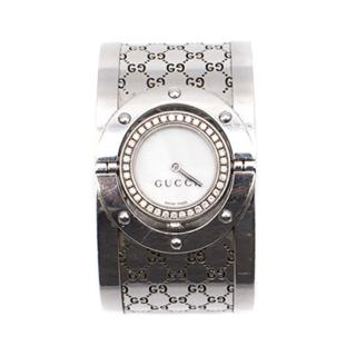 Gucci Twirl Medium Steel Bangle White Dial Watch