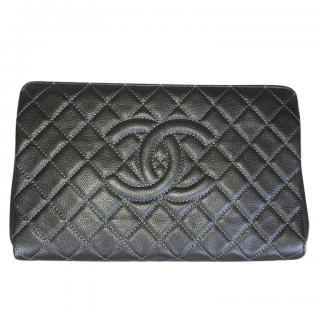Chanel Khaki large quilted leather Clutch
