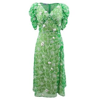 Prada Green Dress with White Floral detail