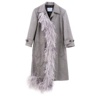 Prada Feather Trimmed Wool Coat