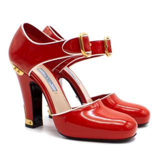 Prada Red Embellished Patent Leather Court Shoes