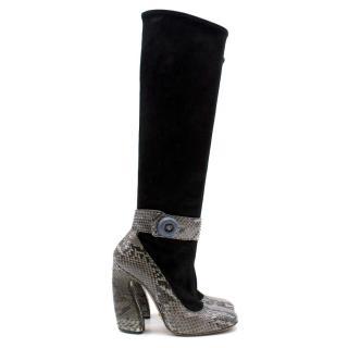 Prada Black Suede and Python Trim Boots
