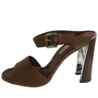 Stella McCartney brown slip on heeled  sandals