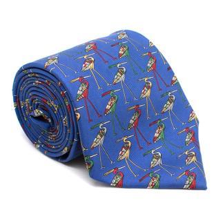 Harrods Blue Flamingo Pattern Silk Tie