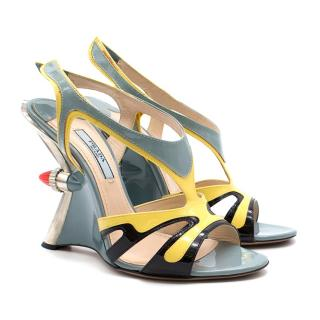 Prada Taillight Flame Wedge Sandals