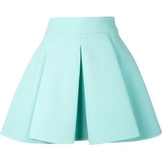 Fausto Puglisi Green Wool Pleated Mini Skirt