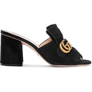 Gucci black suede marmont mules mules