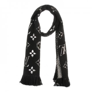 Louis Vuitton black and silver logo mania scarf