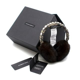 Dolce & Gabbana Brown Fur and Real Crystal Ear Muffs.