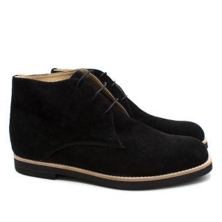 T&F Slack Shoemakers London Handmade Black Suede Boots
