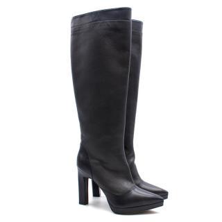 KarinaIK Grey Leather Knee Length Boots