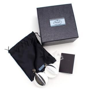 Prada Silver Sequin Ball Earrings