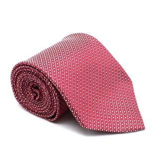 Ermenegildo Zegna Red with Silver Dots Patterned Silk Tie