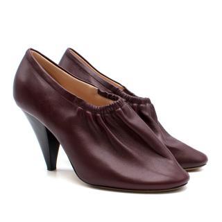 Celine Burgundy Elasticated Cone Heel Pumps