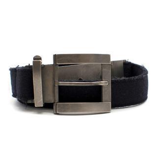 Marni Navy Fabric Belt with Gunmetal Buckle