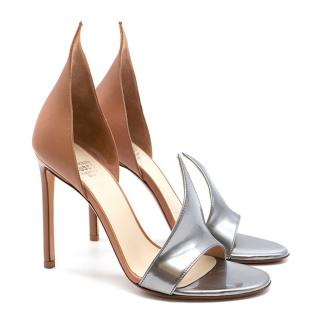 Francesco Russo Nude and Silver Flame Sandals