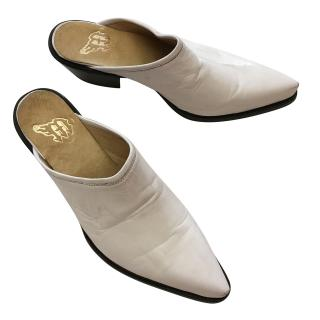 Mexican white leather cowboy sabot mules