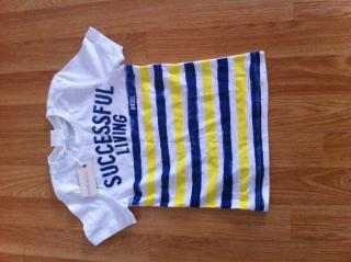 DIESEL WHITE T-SHIRT WITH BLUE AND YELLOW STRIPES FOR 2 - 3  YR TODDLER
