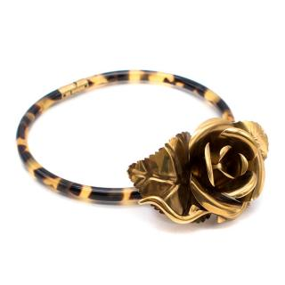 Prada Gold Metal Flower Statement Choker