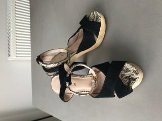 c7901e274a47 Reiss Black Suede and Snakeskin Wedges