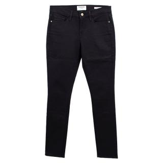 Frame Denim Black Le Skinny de Jeanne Mid-rise Jeans