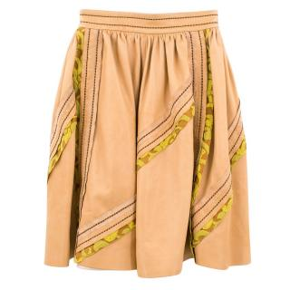 Prada Tan Lambskin Pleated Midi Skirt
