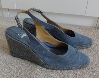 Castaner Blue Grey Wedge Espadrilles