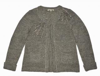 women's gray wool alpaca hooks cardigan