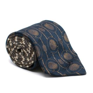 Louis Feraud Navy and Gold Pattern Tie