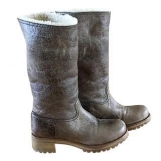 Prada shearling boots