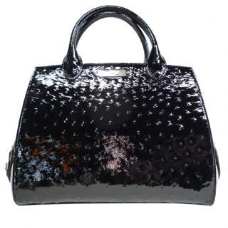 Asprey black ostrich leather handbag