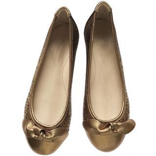 Burberry heritage girls' gold ballerina, EU33