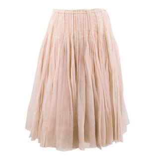 Prada Pleated Nude Silk Chiffon  Skirt
