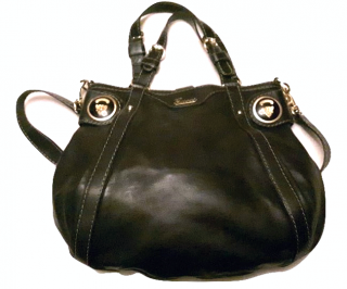 Gucci Black Leather Crest Boule Top Handle Bag