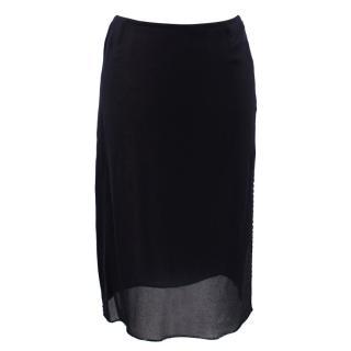 Prada Black Silk Skirt