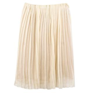 Prada Yellow Silk Pleated Skirt Current Collection