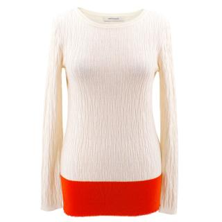 Cedric Charlier Cream Jumper with Red Hem