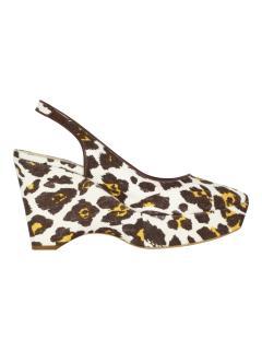 Stella McCartney Leopard print canvas sling-back sandals