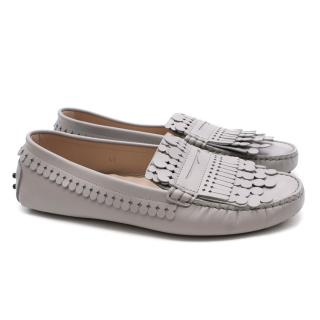 TOD'S Grey Leather Moccasins