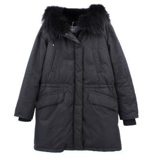 Army Yves Salomon Black Parka Coat