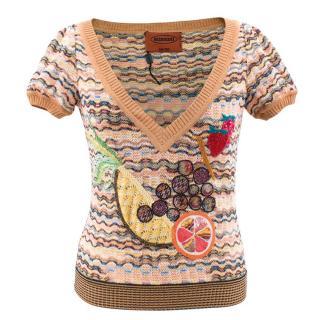 Missoni V Neck Fruit Applique Knitted Top